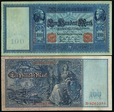 Deutschland Germany 100 Mark Reichsmark 19 Ro. 43 - rotes Siegel -