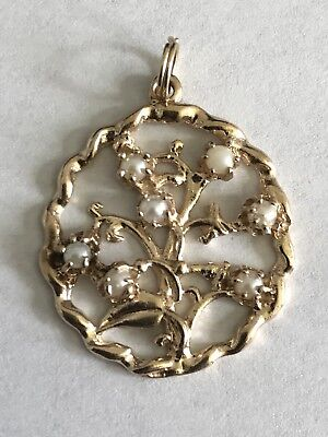 14k Yellow Gold Floral Seed Pearl charm Pendant