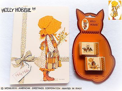 👒 HOLLY HOBBIE Vintage 1980 Quaderno Notebook Gommine Erasers Still Sealed PACK