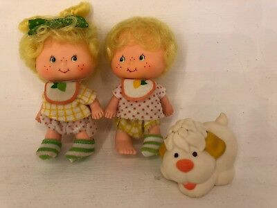 Vintage 1980s Strawberry Shortcake - Lem and Ada Twins with Sugar Woofer
