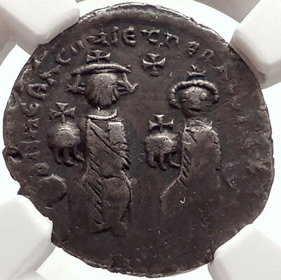 HERACLIUS & Son H CONSTANTINE Ancient 613AD Silver Byzantine Coin NGC i66914