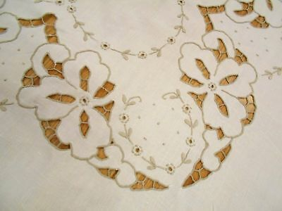 Vintage Antique MADEIRA HAND EMBROIDERED Cream LINEN Floral Tablecloth 85x62