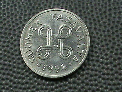 FINLAND 1 Markka 1954 ALMOST UNCIRCULATED  , $ 2.99 maximum shipping in USA  !