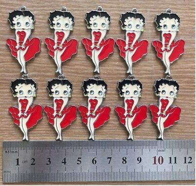 Lot 10pcs Red Betty Boop Enamel Metal Charms Pendants Girls Women Jewelry Crafts