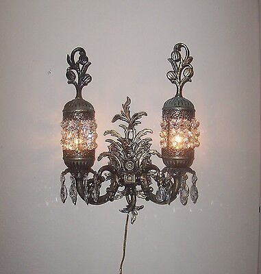 UNIQUE- Vintage  2 Light Ornate Cast Metal Electric Wall Light/ Sconce-Prism