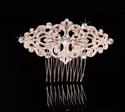 Wedding Bridal Vintage Classic Rose Gold Rhinestone Diamante Hair Comb Headpiece
