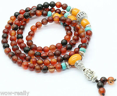6mm Multi-Color Dream agate Gem Tibet Buddhist 108 Prayer Beads Mala Necklace