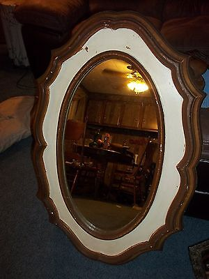 Vintage Gorgeous Large Drexel Heritage Oval Scalloped Heavy Wall Mirror
