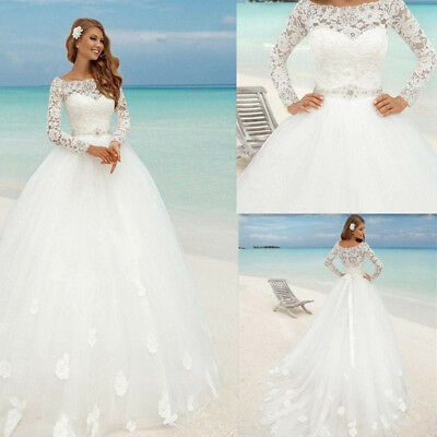2018 HOT White/Ivory Lace Mermaid Wedding Dress Bridal Ball Gown ...