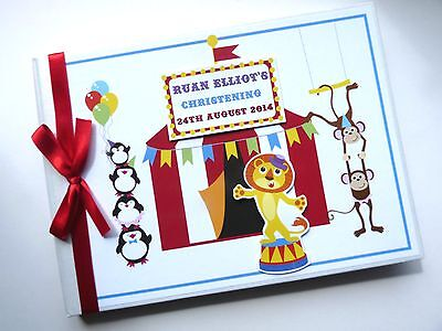 Personalised Circus Theme First/1St Birthday Guest Book - Any Design