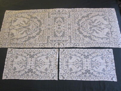 Rare12 Antique French ALENCON Lace Placemats & Runner Griffins Hounds