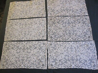 6 Antique French ALENCON Lace Placemats 10x17 1/2""