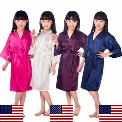 US Kids Girl Children Kimono Dressing Gown Bath Robe Homewear Sleepwear Pajamas