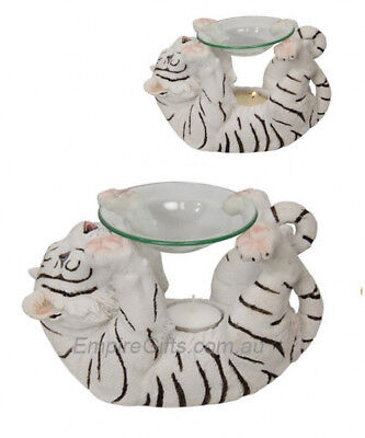 1 x White Tiger Oil Burner Tiger Statue Aromatherapy Wax Melts