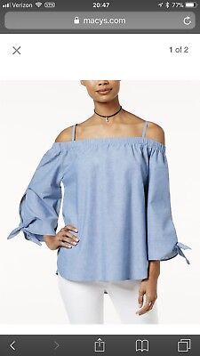 Macy's 7 sisters Denim Off Shoulder Top, Size Small