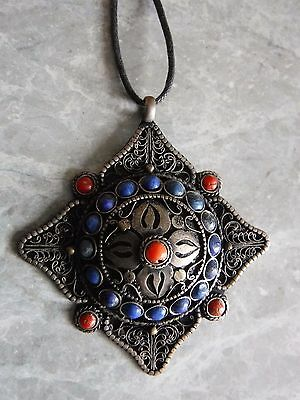 Antiqued Tibetan Silver Filigree Pendant Necklace with Red & Blue Stones