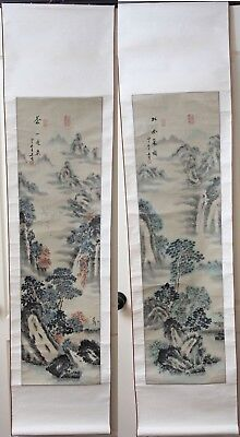 """Vintage Chinese Scroll 68"""" Watercolor Painting Pair Mountain Landscape Signed"""