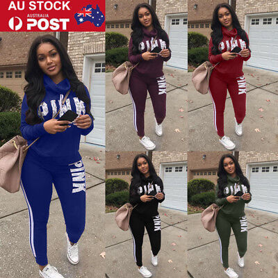 AU Plus Size Women 2Pcs Sports Tracksuit Hoodie Sweatshirt & Pants Set Gym Suits