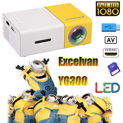Mini Pocket YG300 LED Projector 1080P Home Theater Cinema Multimedia HDMI USB AV