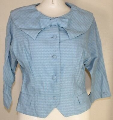 Vintage Light Blue Women's Tailored Blazer 1940's / 50's ILGWU AFL-CIO Tags