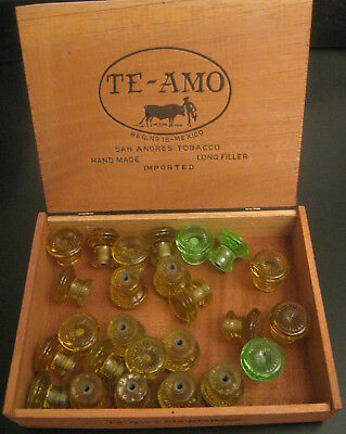Wow! 26 Vintage/Antique Small Etched Glass Drawer Knobs 23 Yellow/3 Gr—Gorgeous!