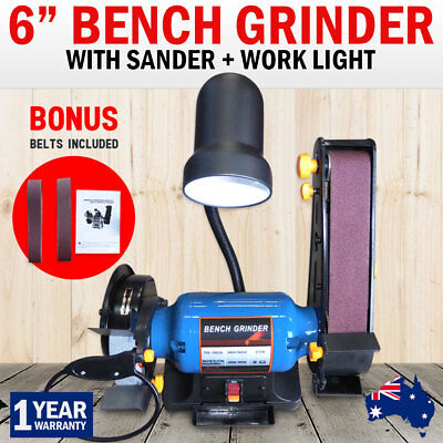 "NEW 6"" Bench Grinder Linisher 1/2HP Sanding Grinding 150mm Wheel Belt Sander"