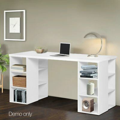Computer Desk Office Study Table w/ 3 Tier & 6 Shelf Storage Bookcase Business