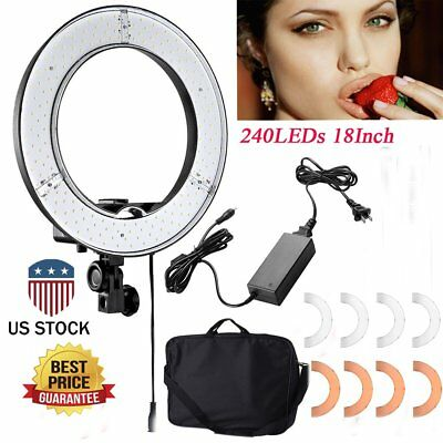 18 Inch 240-LED 5500K Dimmable Ring Light Continuous Lighting Pro Studio Kit VI