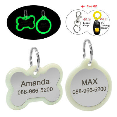Round/Bone Personalised Dog Tags &Glow Silencer Protect Tag Engraved for Pet Cat