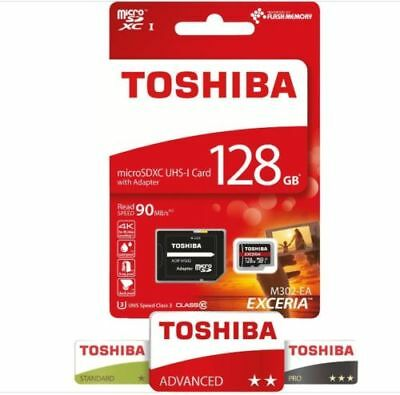 Toshiba Exceria M302-EA 128GB Micro-SDXC Card 90MB/s schnell +SD-Adapter Class10