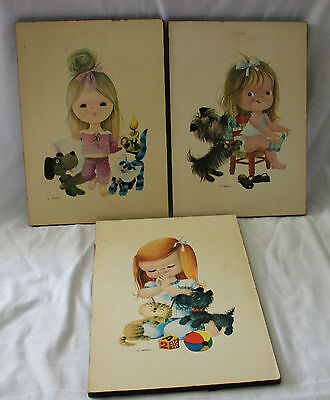 Vintage 1970's ~ 3 x  Kitsch Child Painting Art on Timber by MJ Arnalot 22x30cm
