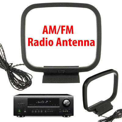 Black AM/FM Loop Antenna Audio Receiver with 3-pin Mini Connector For Sony