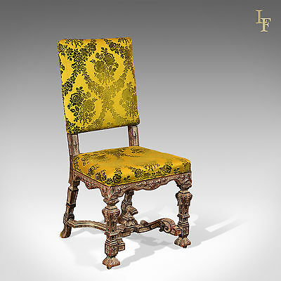 Antique French Side Chair, Continental Hall Seat, Gothic Overtones, c.1900