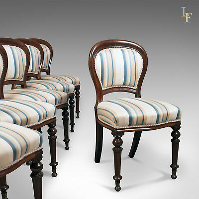 Set of Six, Antique, Dining Chairs, English, Victorian, Mahogany, Circa 1860