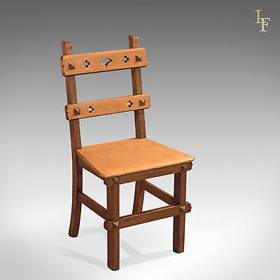 Antique Hall Chair, Arts & Crafts, English Oak, Dining, Seat, Victorian, c.1900