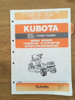 Kubota T1400 T1400H Riding Mower Illustrated Parts List