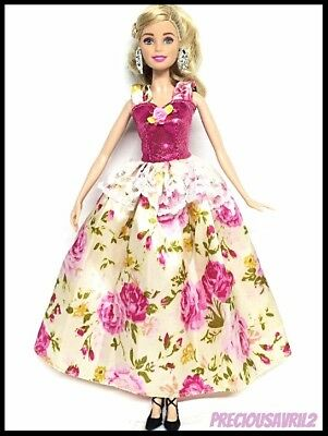 Barbie Doll Clothes PinkFloral Princess Dress/Wedding/Party/Evening/Clothing