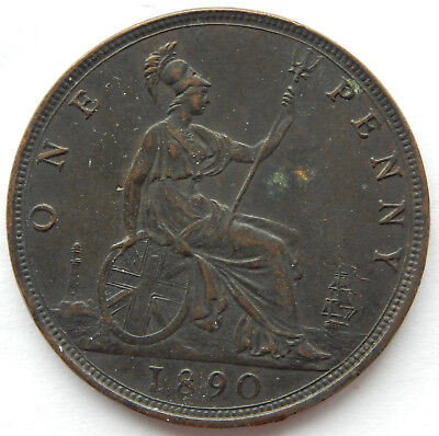 1890 Great Britain / UK One Penny Coin  KM#755  SB5273