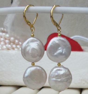 14K GOLD PAIR OF 17-18MM south sea AAA++ WHITE COIN PEARL DANGLE BAROQUE EARRING
