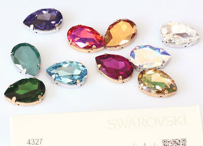 Genuine SWAROVSKI 4327 Pear Fancy Crystals with Sew On Metal Settings