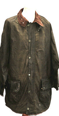 Vintage Men's Barbour Gamefair Wax Jacket Size C46  Green One Crest