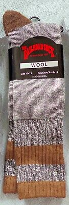 New NOS Quantity 2 pair The Railroad Wool Brown Socks Made in USA