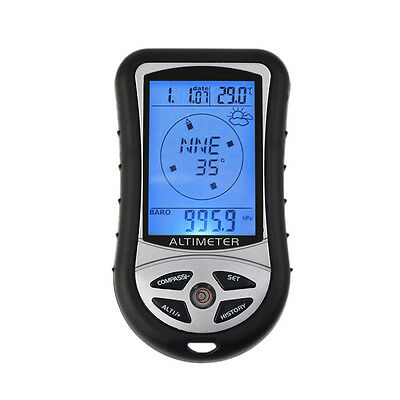 8 in 1 Digital LCD Compass Altimeter Barometer Thermo Temperature Calendar FQR