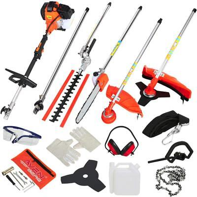 52Cc Garden Multitool 5 In 1 Petrol Hedge Trimmer Brush Cutter Chainsaw Strimmer