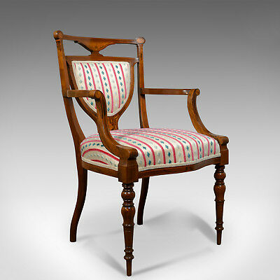 Antique, Elbow Chair, Rosewood, English, Open Armchair, Maple & Co. Circa 1910