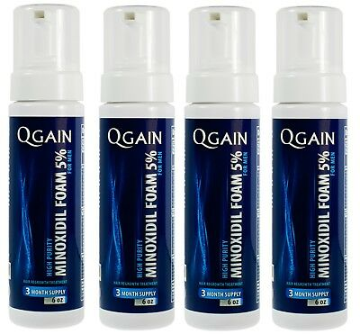 4 X Qgain MINOXIDIL FOAM FOR MEN 5% 12 Month Supply 4 x 180ml bottle