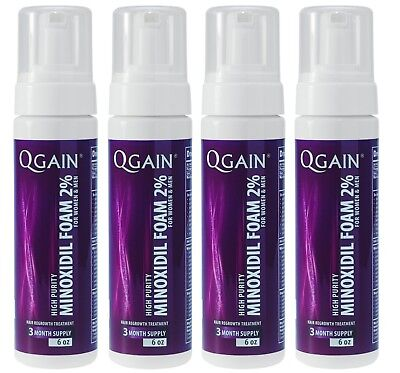4 X Qgain MINOXIDIL FOAM FOR WOMEN & MEN 2% 12 Month Supply 4 x 180ml bottle