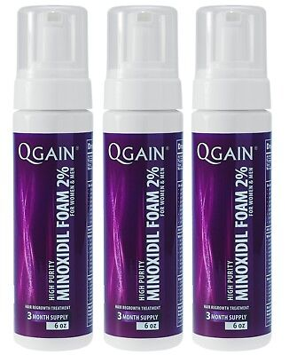 3 X Qgain MINOXIDIL FOAM FOR WOMEN & MEN 2%  9 Month Supply 3 x 180ml bottle