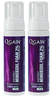 2 X Qgain MINOXIDIL FOAM FOR WOMEN & MEN 2%  6 Month Supply 2 x 180ml bottle