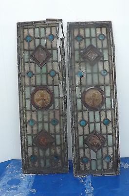 Georgian Stained and hand painted Glass leaded panels